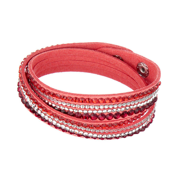 Rhinestone Leather Bracelet Crystal Multilayer Bracelets - Crystalline