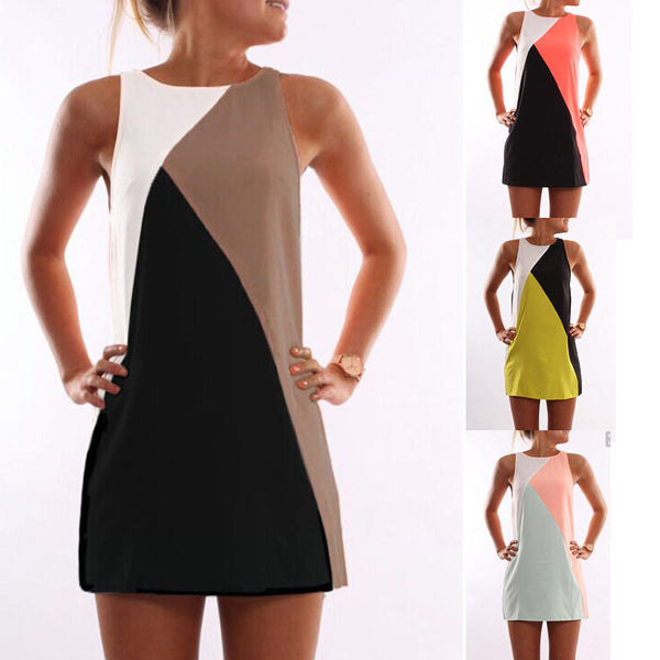 New Summer Sexy Women Sleeveless Party Dress Casual Mini Dress Patchwork - Crystalline