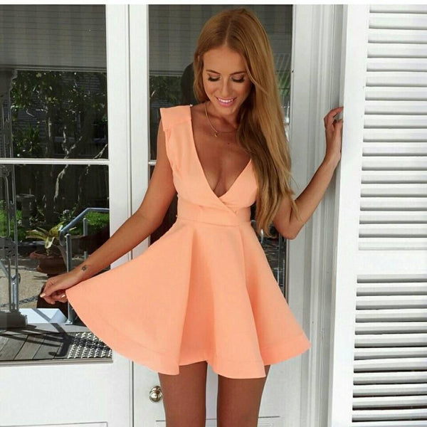 2016 New fashion women sexy v-neck mini dress Pink Sleeveless party dresses peplum dress - Crystalline