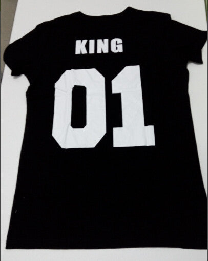 King queen design fashion 100% cotton short sleeve T-shirt stolen goods O - neck  couple T-shirt  2016 new fashion style - Crystalline