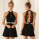 ≫∙∙Black Lace Sexy Sleeveless Evening Party Club Dress ∙≪ - Crystalline