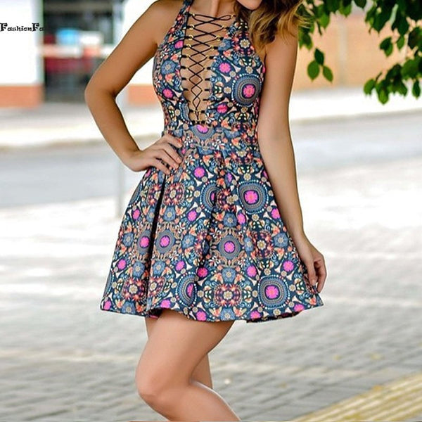 ≫∙∙Floral Summer Fashion Front Tie Up Skater Sexy Colorful Dress ∙∙≪ - Crystalline