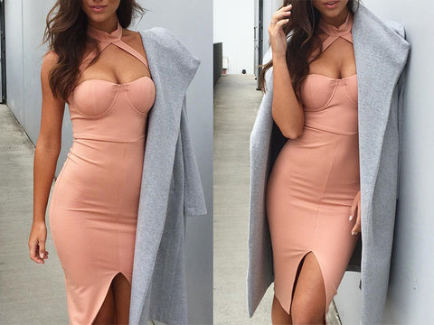Elegant halter pink bandage dress Sexy front split evening party bodycon dresses - Crystalline