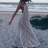 Backless Halter Maxi Long Beach Lace Dresses - Crystalline