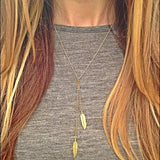 New Vintage Steampunk New Leaf Gold Plated Sweater Chain Necklace Long Necklaces Statement Jewelry For Women - Crystalline
