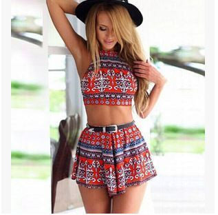 ≫∙∙Summer Jumpsuit 2 Piece Crop Top Red Vintage Print ∙∙≪ - Crystalline