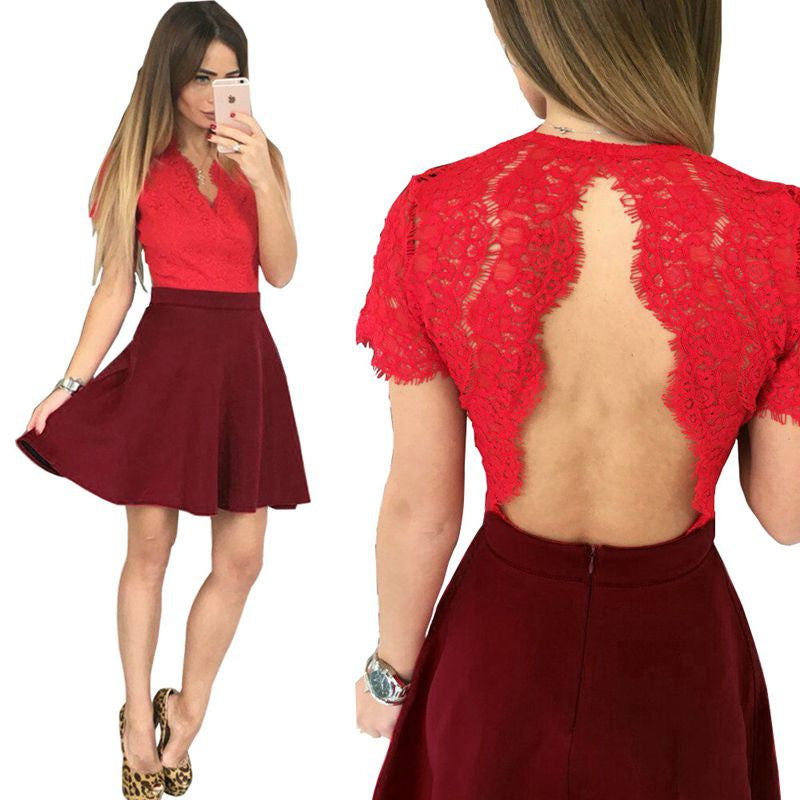 Women V-neck Solid Short Hole Sexy Lace Backless A-line Dress - Crystalline