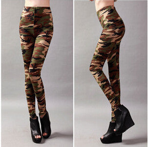 Womens Graffiti Style Slim Camouflage Stretch Trousers Army Tights Pants free shipping&DropShipping - Crystalline