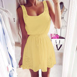 Summer White And Yellow Women Casual Dresses Sleeveless Cocktail Short Mini Dress - Crystalline