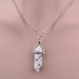 Hexagonal Column Necklace Natural Crystal turquoise Agate Amethyst Stone Pendant Chains Necklace For Women Fine Jewelry 8229 - Crystalline