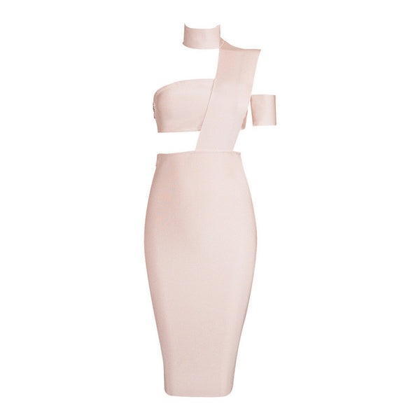 Elegant Top Design Inspired Tube Midi Length Party Celebrity Bandage Dress - Crystalline