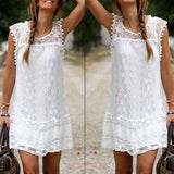 Casual Solid Short Sleeve Slim Lace Mini Dress - Crystalline