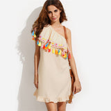 Multicolor Embroidered Tassel One Shoulder Dresses - Crystalline