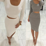 ☀ Make them stare ☀ 2 Pcs Women Sets Long Sleeve Midi Pencil Bodycon - Crystalline