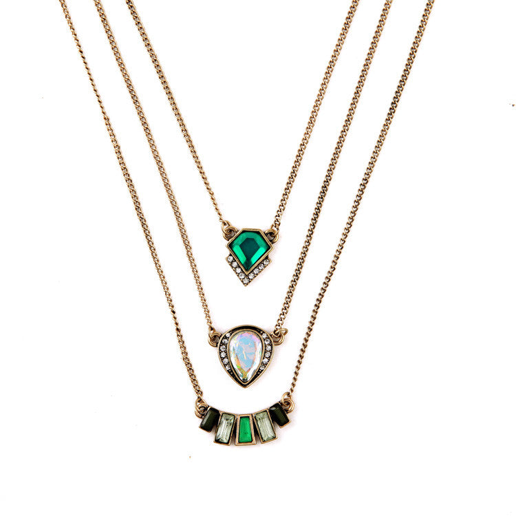Multilayer Indian Hot Sale Designer Jewelry Summer Tide All Match Emerald Necklaces & Pendants - Crystalline