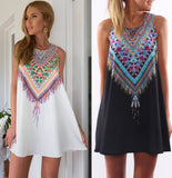 2016 Sexy Women Summer Casual boho Maxi Party Evening Mini Dress Beach Floral dress sleeveless dresses casual free shipping - Crystalline