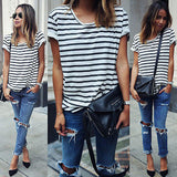 2016 New Summer Style O Neck Women Tops Striped Short Sleeve Female T-Shirts Batwing Loose Chiffon Shirt - Crystalline
