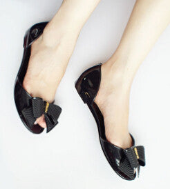 ≫∙∙ Summer Jelly Shoes with Bow Flip Flops Flat Heel Style Bow  ∙∙≪ - Crystalline