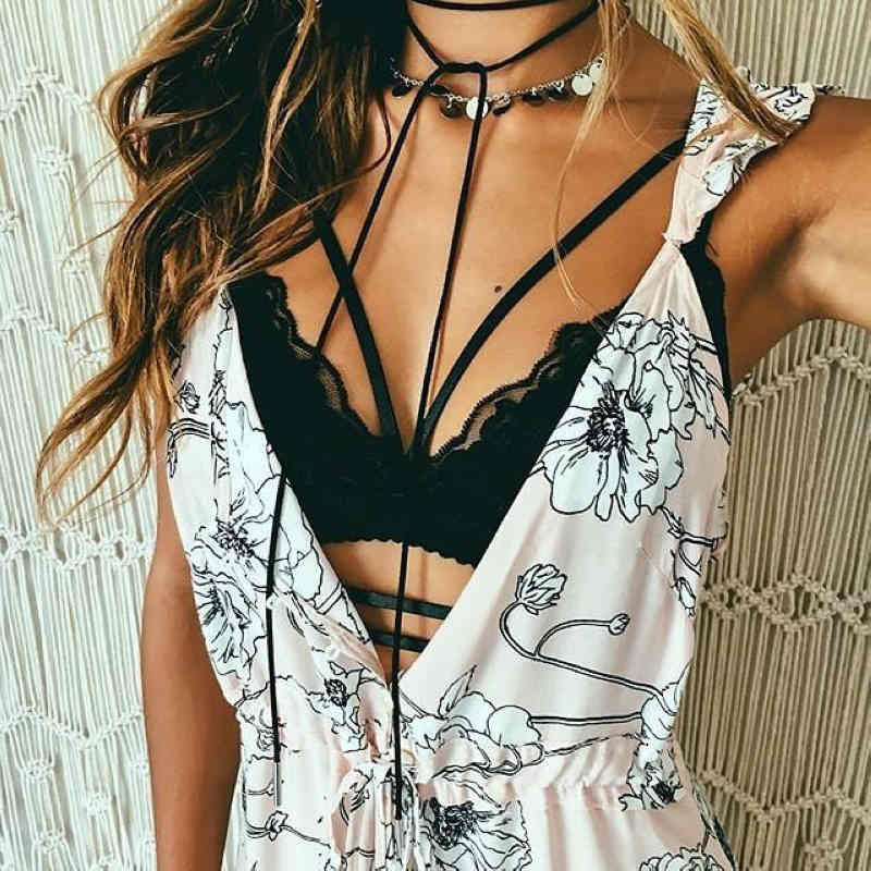 Sexy Solid Color Strappy Lace Push Up Bralette - Crystalline