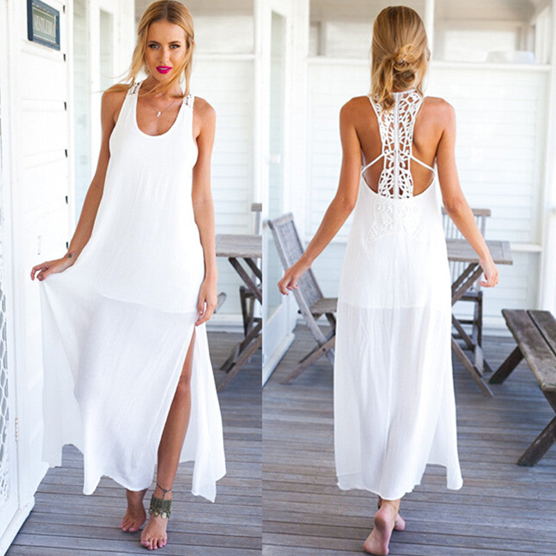 2016 Summer Style Elegant Women Long Beach Dresses O Neck Casual White Solid Lace Maxi Dress Vestidos - Crystalline