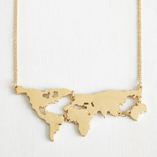 ≫∙∙ Gold Plated World Map Pendant Necklace Jewelry  ∙∙≪ - Crystalline