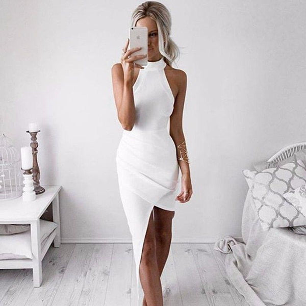 ≫∙∙White Bodycon Sexy Sleeveless Halter Evening Party Club Dress ∙≪ - Crystalline