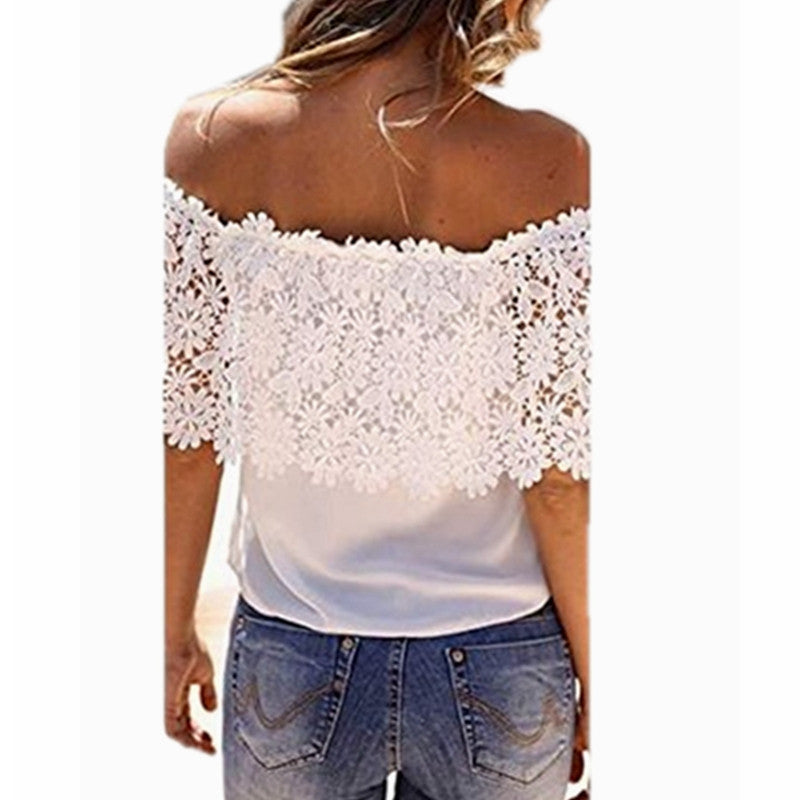 Summer Style Women Sexy Tops Casual Off Shoulder Blouse Chiffon Lace Floral Blouse Solid Shirts - Crystalline