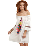 Summer Beach Short Dress Casual Tassel Dress - Crystalline