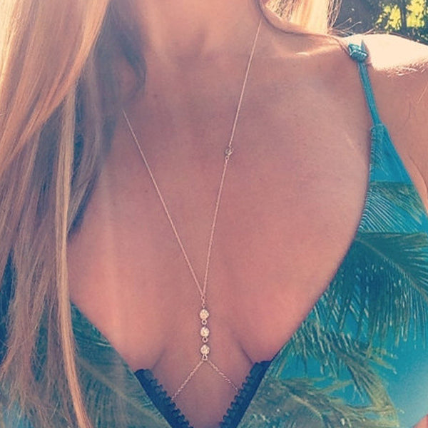 Hot Charming Body Chain Golden Elegant Summer Crystal Rhinestone Crossover Sexy Bikini Waist Belly Chain Boho Beach Body Jewelry - Crystalline