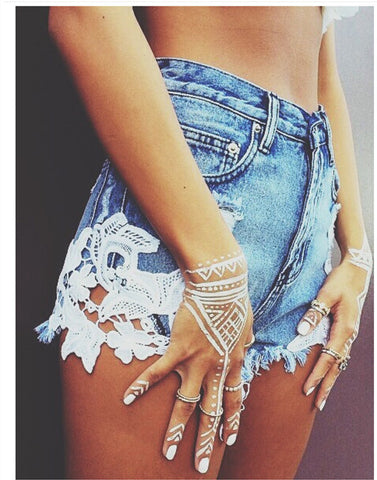 New sexy lace patchwork high waisted tassels ripped shorts jeans - Crystalline