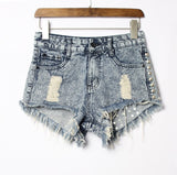 Tassel Rivet Ripped Loose High Waisted Short Jeans - Crystalline