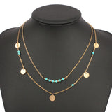 turquoise crystal bead necklaces & pendants multi layer necklace gold statement women summer jewelry necklaces - Crystalline