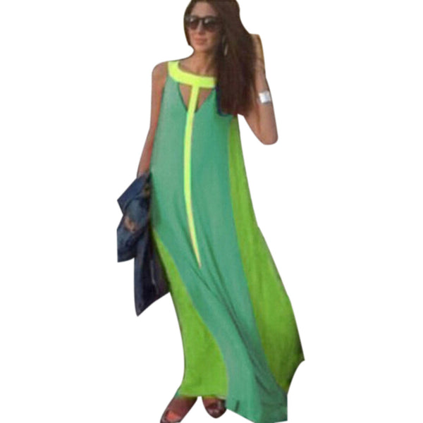 2016 Boho Sexy Women  Sleeveless Gradient Multicolor Dress Long Maxi Party Beach Dress - Crystalline