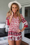 Floral Dress Spring - Red Floral Romper Elephant Print - Crystalline