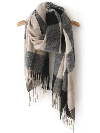 Scarf Black Grey Plaid Fall Winter Fashion Warm Comfy Trendy Scarves - Crystalline