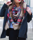 Scarf Fall Winter Fashion Plaid Warm Comfy Trendy Scarves - Crystalline
