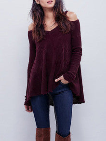 Burgundy Cold Shoulder Loose Sweater - Crystalline