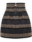 Black High Waist Rivet Studs Striped Skirt - Crystalline