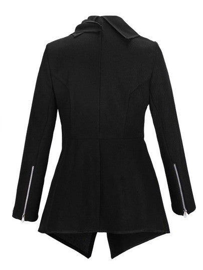 Turtleneck Zipper Asymmetrical Black Coat - Crystalline