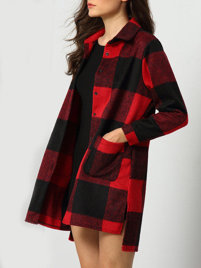 Red Black Lapel Plaid Pockets Coat - Crystalline