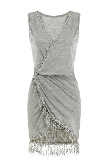 Grey Overlap Sleeveless Tassel Dress