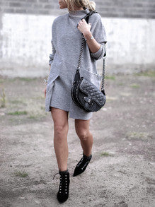 Sweater Dress in Grey with Pockets Perfect Winter Dress - Crystalline