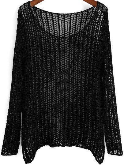 Pullover Sweater Black Crochet Knit Loose Fit - Crystalline