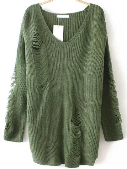 Ripped Sweater with V Neck in Army Green Trendy Sweater - Crystalline