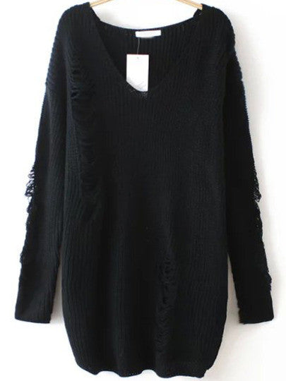 Ripped Sweater with V Neck in Black Trendy Sweater - Crystalline