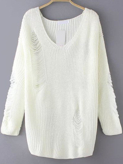 Ripped Sweater with V Neck in White Trendy Sweater - Crystalline