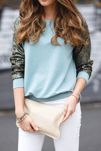 Sparkely Glittery Cozy Sequined Sweatshirt - Crystalline
