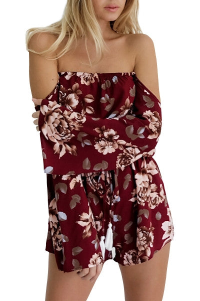 Women Floral Print Off-the-Shoulder Long Sleeve Romper - Crystalline