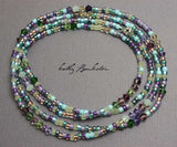 Blue Purple Seed Bead Necklace with Swarovski Crystals-Single Strand