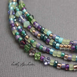 Blue Purple Seed Bead Necklace with Swarovski Crystals